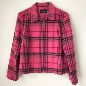 Requirements Pink Plaid Wool Jacket Women's M/L